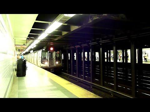 R46 R, R160 N and Q trains at 8th Street - NYU