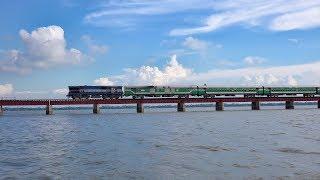 Incredible Bangladesh Railway|| Chittra Express Train on Baujan Rail Bridge at Dilpashar Chalan Beel