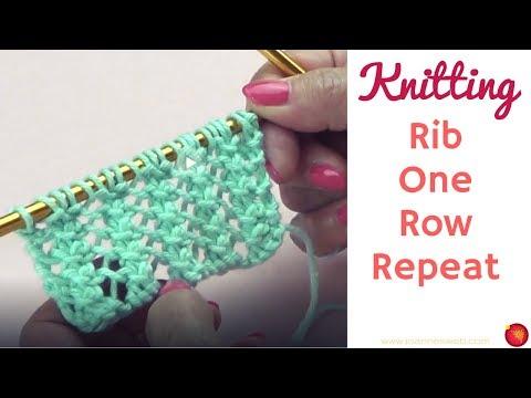 Rib One Row Repeat #2 - Basic Knitting Rib Pattern - Ribbing Stitches