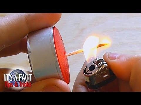 How to - Make a Candle Wick from a Paper Clip  (Jak udělat knot pro svíčku z kancelářské sponky)
