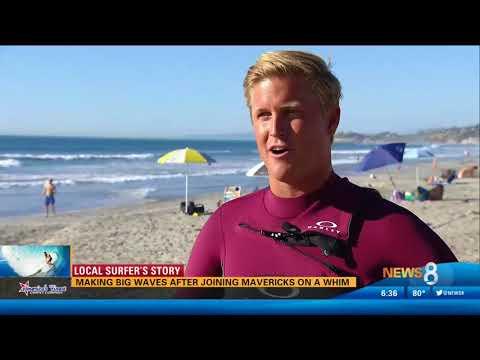 CBS 8 News Highlights Hunter Lysaught Surfing 20-Foot Wave on Legendary Mavericks Opening Day
