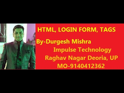HTML Lecture 11 in Hindi Login Form