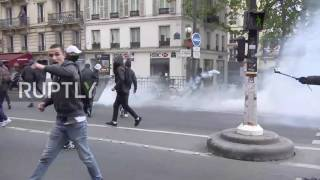 France: Protesters hurl glass bottles at anti-Macron and Le Pen demo in Paris