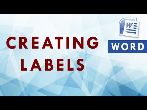 Create labels in Word 2007