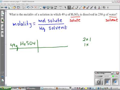calculating molality of a solution