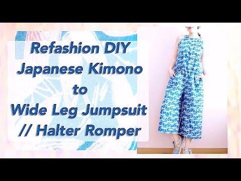 Refashion DIY Kimono to Wide Leg Halter Jumpsuit // 着物リメイクチュートリアル / Sewing Tutorialㅣmadebyaya