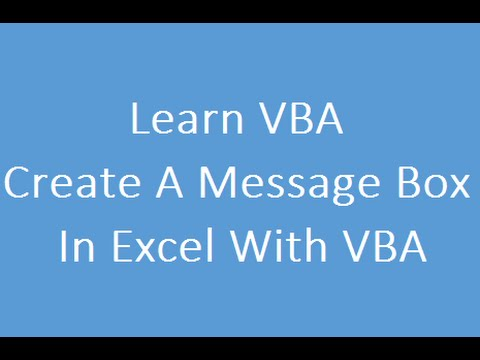 Create A Message Box In Excel With VBA Code