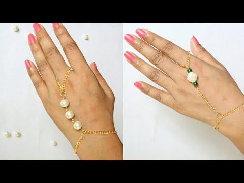 DIY 2 styles of ring bracelets/Pearls Hand Harness/Pearl and chain with harness/Pearl bracelets