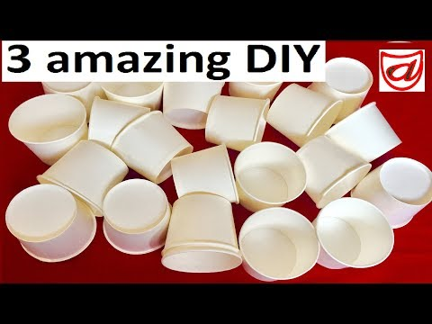 3 Amazing DIY Crafts from Disposable Paper Cup | Best out of waste life hacks - Kids room decor