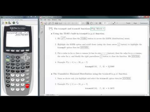 Calculating Binomial Probabilities with the TI 83/84