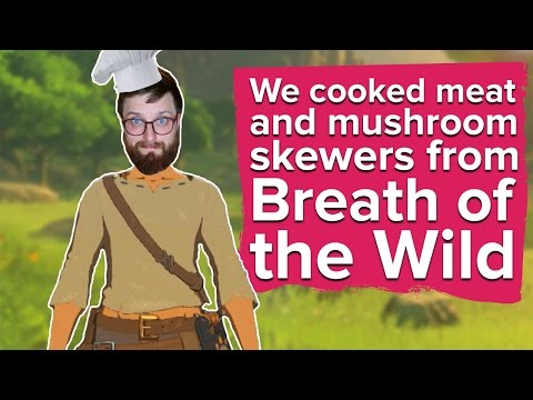We cooked meat and mushroom skewers from Breath of the Wild