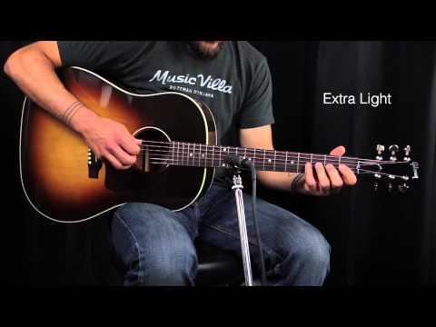 The Ultimate Acoustic String Comparison - Extra Light vs Custom Light vs Light vs Medium