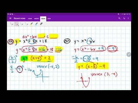 Algebra 2 / Trig Graphing Quadratics Converting Standard Form to Vertex Homework 2.10