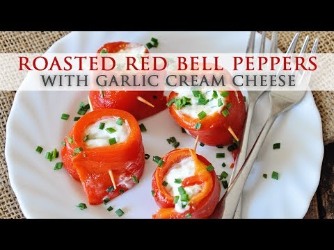 Roasted Red Bell Peppers with Garlic Cream Cheese