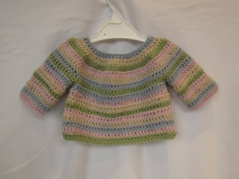 How to crochet a simple striped baby / child's sweater tutorial - part 1