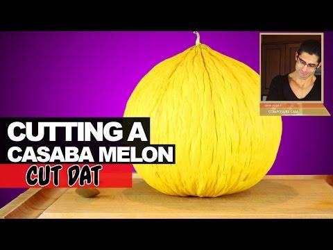 Cutting a Casaba Melon