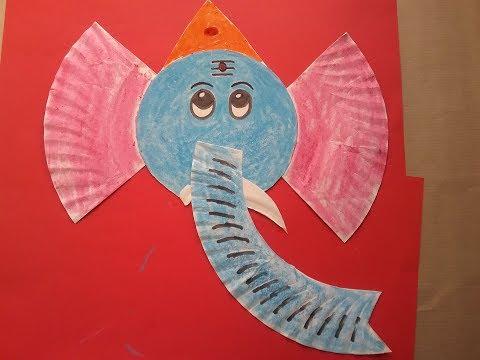 how to make Ganesha mask, craft work with paper plate, DIY Ganesha mask. Lord Vinayaka