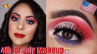 GLITTERY FOURTH OF JULY MAKEUP TUTORIAL | Red White and Blue Makeup