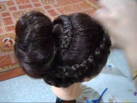 Bun Hairstyle with Front, Side and Back plated Braid.