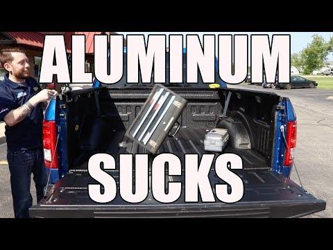 Aluminum F150 Tool Box Drop Test -  Line X