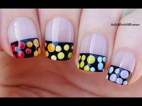 DOTTING TOOL NAIL ART #15 / Rainbow Dots Over Wide Black French Tips