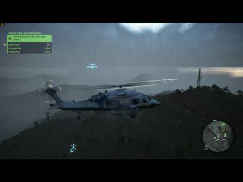 Eric landing a plane on a grass runway on a mountain during a storm. - Wildlands gameplay