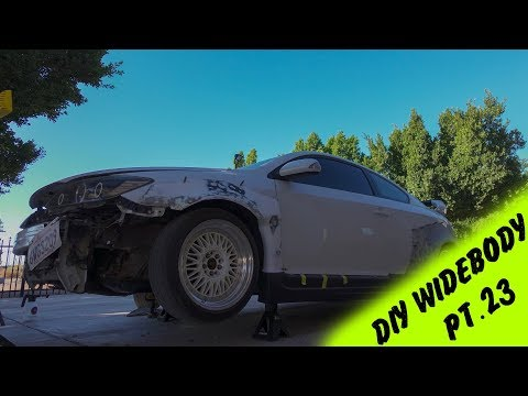 DIY Widebody Fender Flares out of a Rocket Bunny Kit Pt.23 | Fitting front Flare on the Sideskirt