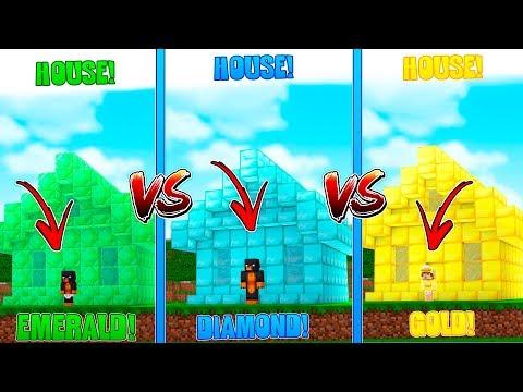 Minecraft DONUTS EMERALD HOUSE VS BABY DUCKS GOLD HOUSE VS BABY MAX'S DIAMOND HOUSE!!