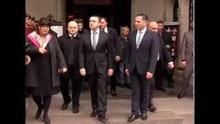 შს მინისტრი გარდაცვლილი პოლიციელის დაკრძალვას დაესწრო