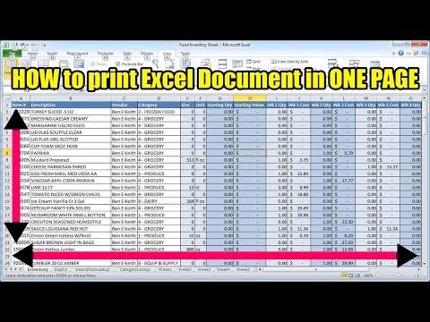 How to print excel document in one page