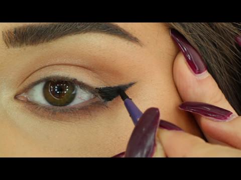 Best way to draw a Perfect eyeliner for HOODED EYES/أفضل طريقة لرسم الايلاينر للعيون المبطنة