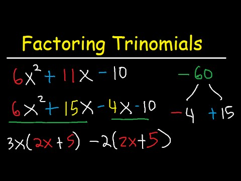 Factoring Trinomials With Leading Coefficient not 1 - AC Method & By Grouping - Algebra  - 3 Terms