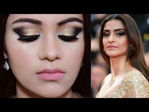 SONAM KAPOOR Cannes 2017 Makeup Tutorial HINDI | Gold Smokey Eyes