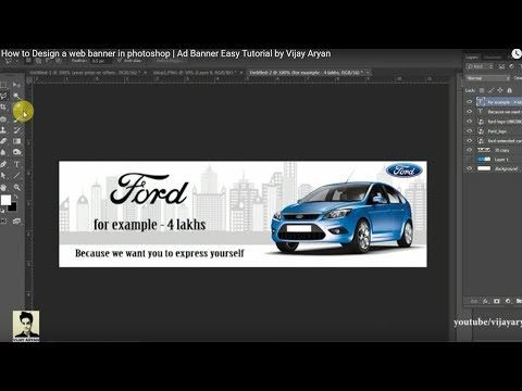 How to Design a web banner in photoshop | Very Easy way | Ad Banner Easy Tutorial by Vijay Aryan