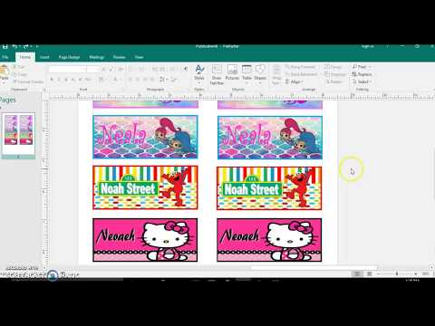 Template for 4 pack crayon box, Labels diy tutorial publisher, microsoft
