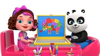Pinky And Panda Learning Alphabets With Elephant Wooden Puzzle For Children Kids
