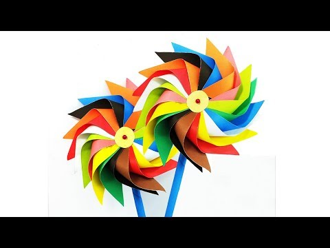 How to make a paper windmill tutorial for Kids - Pinwheel making instruction that spins -Multi Color