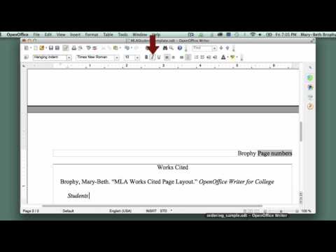 14. Setting Up MLA-Style Works Cited Page in OpenOffice Writer