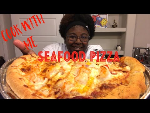 How to Cook: Seafood Pizza 🍕   White Pizza, Cajun Pizza MUKBANG   Cooking Show, Eating Show