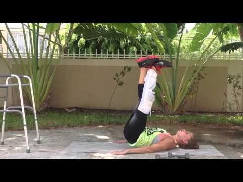 Leg raises with an immobilizer