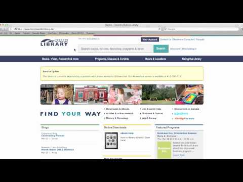 How to Search for Library Materials on the Toronto Public Library Website