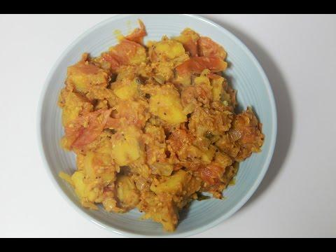 Raw Banana Curry - Plantain Gravy by Telugu Taste Buds