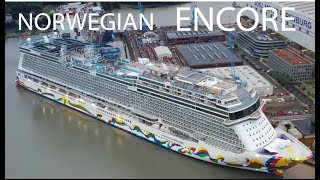4K   Big Ship Launch NORWEGIAN ENCORE   Amazing float out at Meyer Werft Shipyard