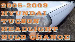 How To Replace Change Headlight Bulb In Hyundai Tucson 05-09