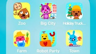 Sago Mini Zoo,Big City,Holiday Trucks and Diggers,Farm,Robot Party,Town