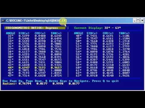 QBasic Trigonometry Degrees to Radians