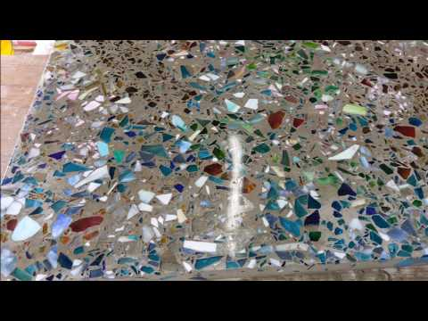 Polished concrete with Recycled Glass Surfaces