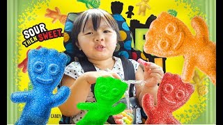 Learns Colors With Sour Candy challenge Kids Children Toddlers Fun Hunt for Sour Patch