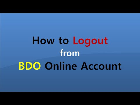 How to Logout from BDO Online Account