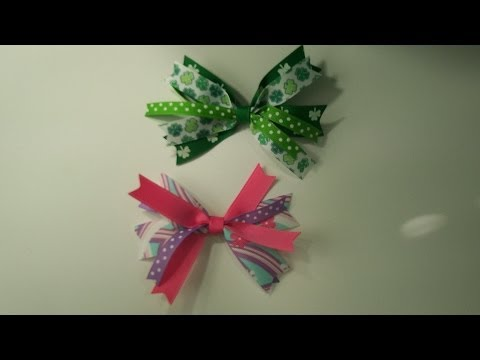 How To Make A Ribbon Spikes Hair Bow Part 1~ using miniBowdabra